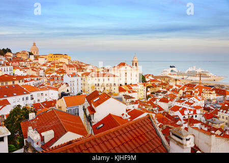 Skyline of Alfama - Lisbon Old Town at sunset. Portugal - Stock Photo