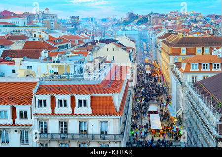 Aerial view of Augusta street and the Old Town of Lisbon at twilight. Portugal - Stock Photo