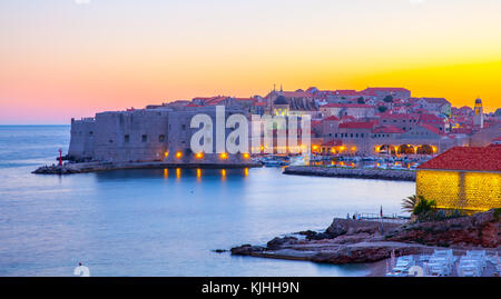 Old town of Dubrovnik at sunset, Croatia - Stock Photo