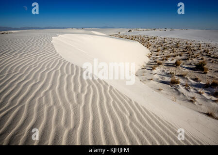 The unique and beautiful White Sands National Monument in New Mexico.This gypsum dune field is the largest of its - Stock Photo