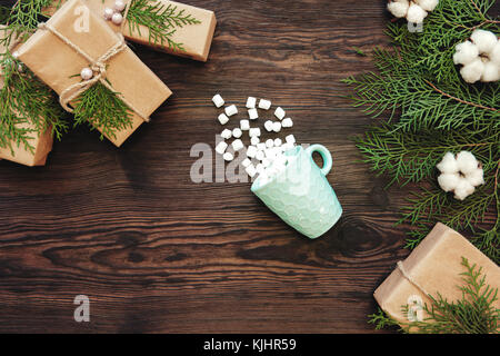 Christmas background with cup and marshmallow  - Stock Photo