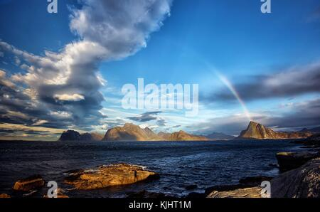 Shot from Myrland in Flakstad island, Lofoten . - Stock Photo