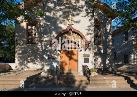 Front entrance to Holy Trinity Cathedral designed by Louis Sullivan in Chicago Ukrainian Village - Stock Photo