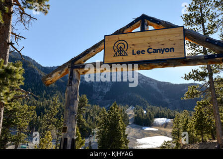 Entrance to Lee Canyon ski resort near Mount Charleston, Nevada. - Stock Photo