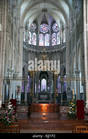 Auxerre cathedral dedicated to Saint Stephan. The choir.  France. - Stock Photo