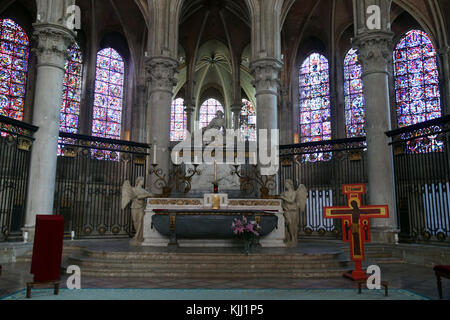 Auxerre cathedral dedicated to Saint Stephan. Choir and altar.  France. - Stock Photo