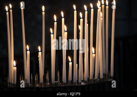 Auxerre cathedral dedicated to Saint Stephan.  Church candles.  France. - Stock Photo