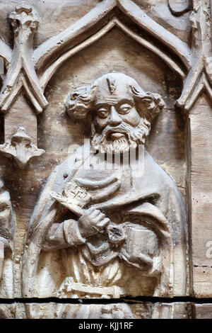 The Abbey of Saint-Germain d'Auxerre. Saint Peter. Carved wood. 15 th Century.  France. - Stock Photo