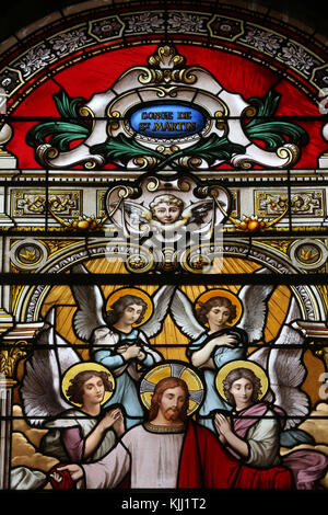 Saint Martin church.  Stained glass window.  The dream of Saint Martin of Tours.  Avallon. France. - Stock Photo