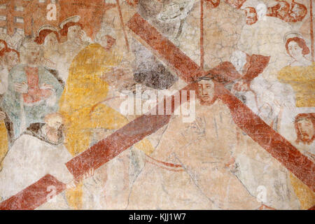 Vault de Lugny church.  16th century wall painting. Christ in his passion. Jesus accepts his cross.  France. - Stock Photo