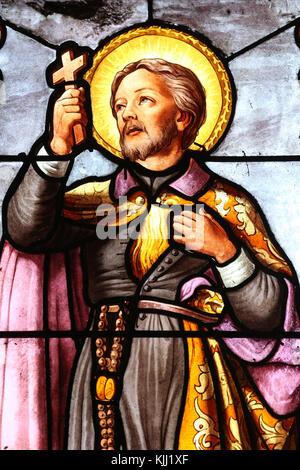 Saint Fargeau church.  Stained glass window. Roman Catholic missionary St Francis Xavier.  France. - Stock Photo