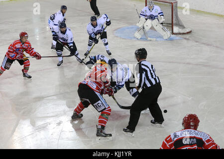 Ice hockey match. Mont-Blanc vs Nantes.  France. - Stock Photo
