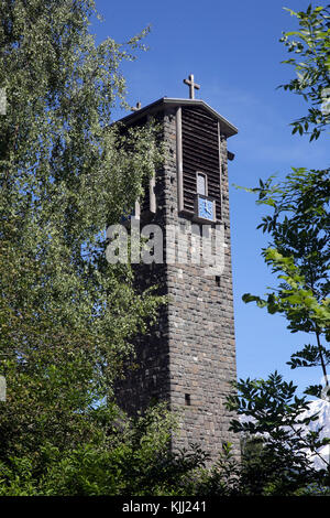 Notre-Dame de Toute Grace du Plateau d'Assy (Our Lady Full of Grace of the Plateau d'Assy).  Bell tower. France. - Stock Photo