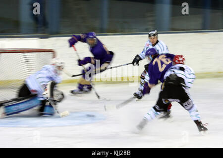 Ice hockey match. Mont-Blanc vs St. Michaels.   France. - Stock Photo