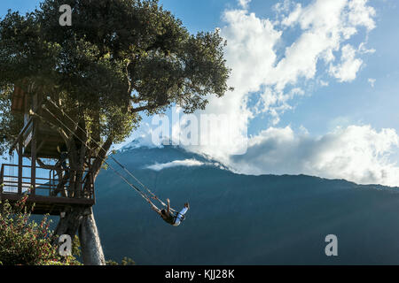 Banos, Ecuador - November 22, 2017: The Swing At The End Of The World Located At Casa Del Arbol, The Tree House - Stock Photo