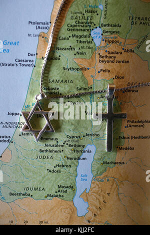 Star of David and cross over a map of ancient Israel. France. - Stock Photo