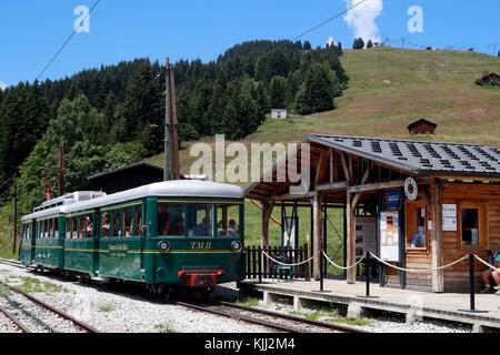 The Mont Blanc mountain cog train at Col de Voza.  France. - Stock Photo