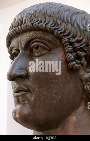 Capitoline museum, Rome. Palazzo dei Conservatori. Constantine. Age of Constantine, probably 330-337 A.D. Gilded - Stock Photo