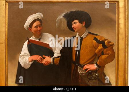 Capitoline museum, Rome. Caravaggio, The Fortune Teller, oil on canvas, about 1595. La diseuse de bonne aventure - Stock Photo