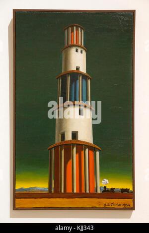 Museum of Modern Art, Rome. Giorgio de Chirico.  La torre et il treno. 1934.  Cette image n'est pas tombŽe dans - Stock Photo