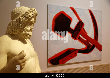 Museum of Modern Art, Rome. Pietro Galli. Giove. 1838 & Andy Warhol Hammer and sickle 1977. Italy. - Stock Photo