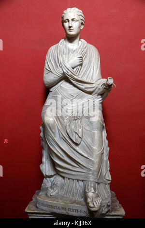 Vatican museums, Rome. Pio Clementino museum. Female statue, so-called Sapho. Italy. - Stock Photo