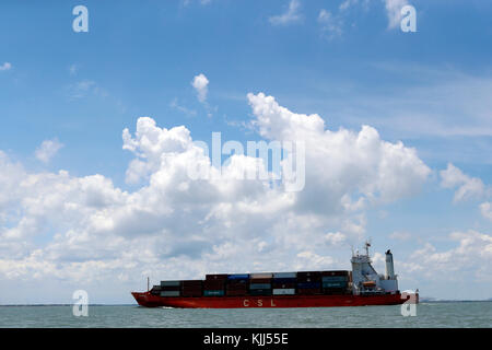 Cargo ship in South China Sea.  Vietnam. - Stock Photo