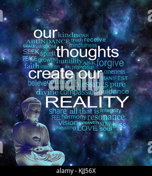 Deep space background with a lotus seated Buddha in left corner and a word cloud surrounding the phrase OUR THOUGHTS - Stock Photo