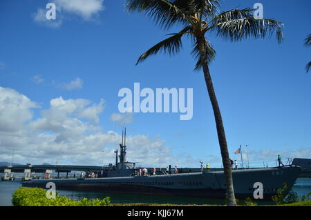Submarine USS Bowfin. Pearl Harbon. Oahu, Hawaii, USA, EEUU.. - Stock Photo
