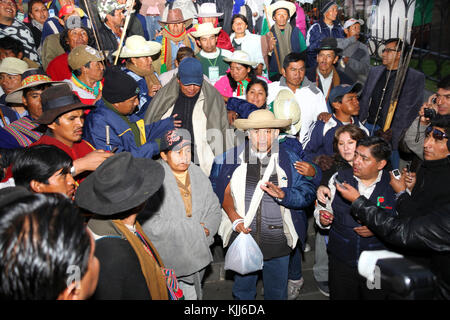 Leaders of the VIII March in Defence of the TIPNIS wait in Plaza Murillo for a meeting with Bolivian president Evo - Stock Photo