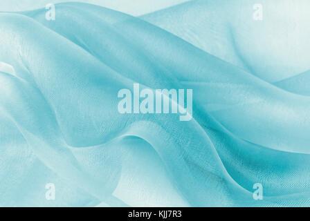 organza fabric in blue color - Stock Photo