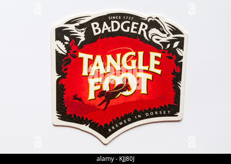 Tangle foot Badger brewed in Dorset coaster isolated on white background - for detail on back see KJJ80Y - Stock Photo