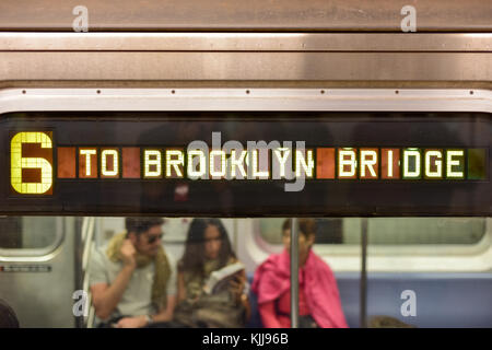New York, USA - May 31, 2015: The 6 Train on the way to Brooklyn Bridge Station in the New York Subway. - Stock Photo