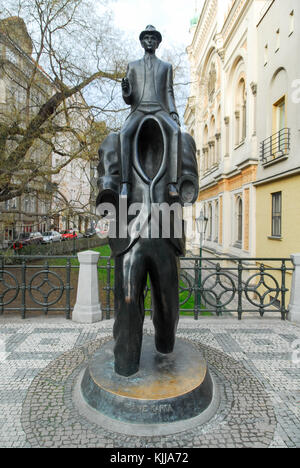 PRAGUE, CZECH REPUBLIC - JANUARY 10, 2007: Franz Kafka statue located in Jewish quarter of Prague, Czech Republic. - Stock Photo
