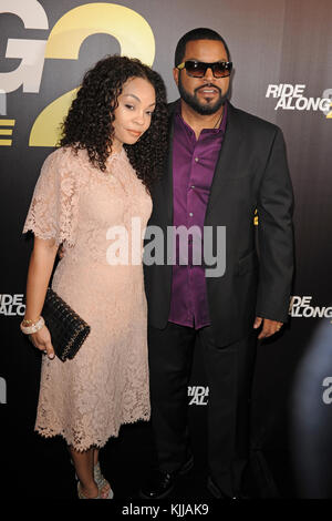MIAMI BEACH, FL - JANUARY 06: Ice Cube, Kimberly Woodruff attends World Premiere Of 'Ride Along 2' at Regal South - Stock Photo