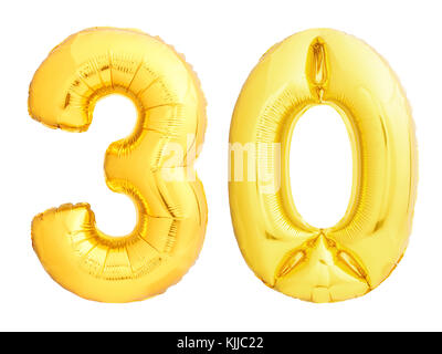 Golden number 30 thirty made of inflatable balloon - Stock Photo