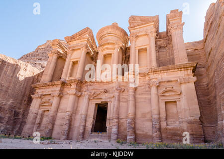 Facade of El Deir (Monastery) a famous landmark and viewpoint in world heritage site of Petra, Jordan. - Stock Photo