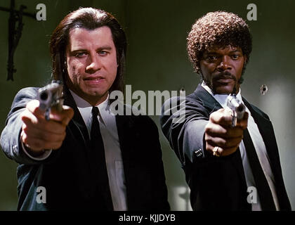 Samuel L. Jackson and John Travolta as mob hit men Jules Winnfield and Vincent Vega in Pulp Fiction (1994) directed by Quentin Tarantino.