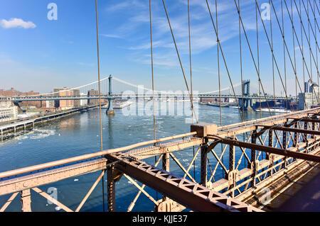 Brooklyn Bridge following a snowstorm in New York City.