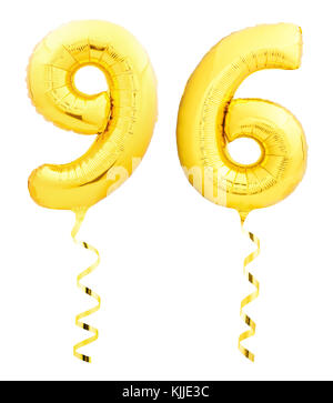 Golden ninety six 96 made of inflatable balloon with ribbon on white - Stock Photo