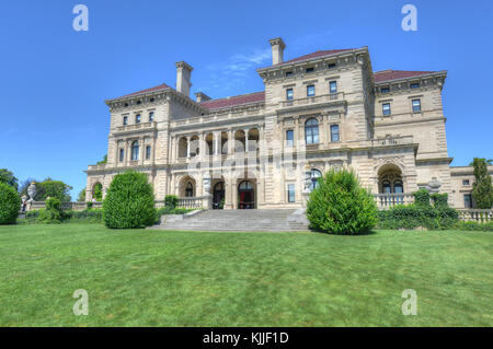 NEWPORT, RHODE ISLAND - AUGUST 8, 2013: The Breakers Mansion - a national historic landmark, built by Cornelius - Stock Photo