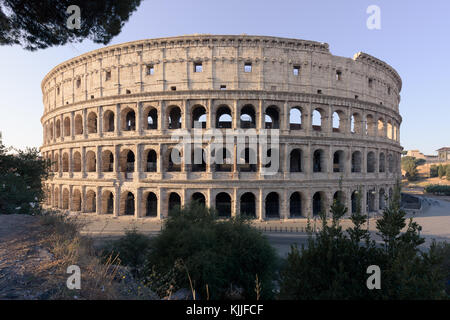 The ancient Roman amphitheater appears complete in the sunrise, with no visible people, from the terrace of Monte - Stock Photo