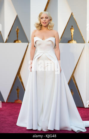 HOLLYWOOD, CA - FEBRUARY 28: Lady Gaga attends the 88th Annual Academy Awards at Hollywood & Highland Center on - Stock Photo
