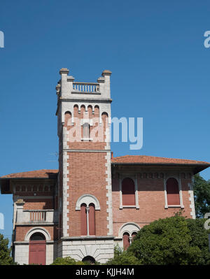 Porto Potenza Picena (Macerata, Marches, Italy): odd old house qith tower - Stock Photo