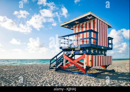 Colorful stars and stripes lifeguard tower on Miami Beach, Florida - Stock Photo
