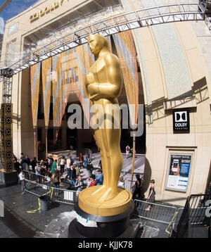 HOLLYWOOD, CA - FEBRUARY 25: Oscar  preparations continue for the 88th Annual Academy Awards at Hollywood & Highland - Stock Photo