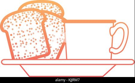coffee cup and bread slices on dish in degraded orange to magenta color contour - Stock Photo