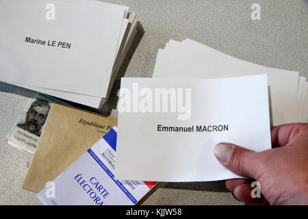2017 French presidential election. Polling Booth. Marine Le Pen VS Emamnuel Macron.  France. - Stock Photo