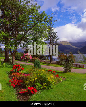 Beautiful spring view from Onich on the north side of Loch Leven looking towards the Ballachulish hills, Onich, - Stock Photo