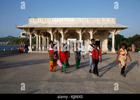 Baradari built by Shah jahan at lake Anasagar, Ajmer, India. - Stock Photo